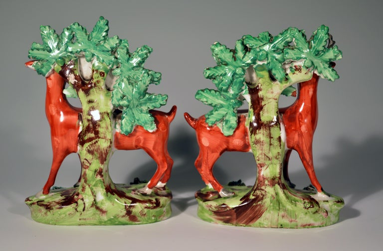 Early Staffordshire Pearlware Pair of Deer Bocage Figures, circa 1825 For Sale 1