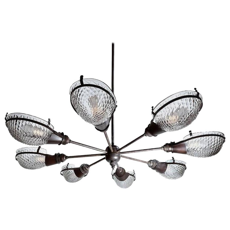Early Style Quilted Glass Operating Room Light For Sale