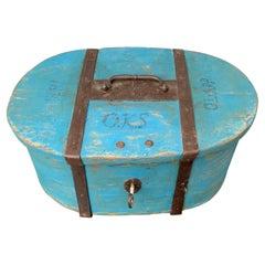Early Swedish 19th Century Blue Folk Art Painted Box, Dated 1816