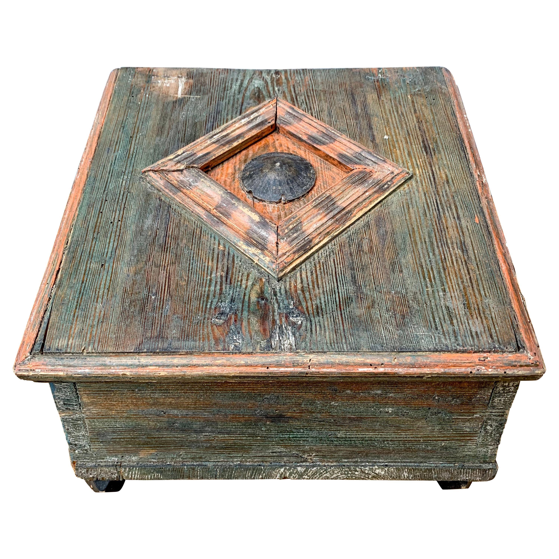 Early Swedish 19th Century Wooden Folk Art Box with Originally Paint