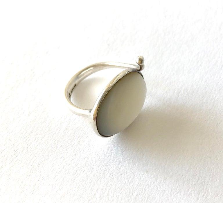 Modernist Early Swedish Modern Vivianna Torun Bülow-Hübe Sterling Mother of Pearl Ring For Sale