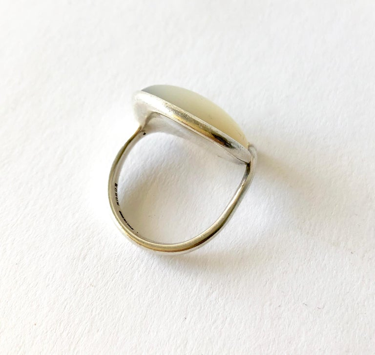 Women's Early Swedish Modern Vivianna Torun Bülow-Hübe Sterling Mother of Pearl Ring For Sale