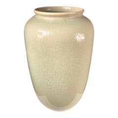 Early Tall Antique Handmade and Hand Glazed Green Vase, 1950-1960