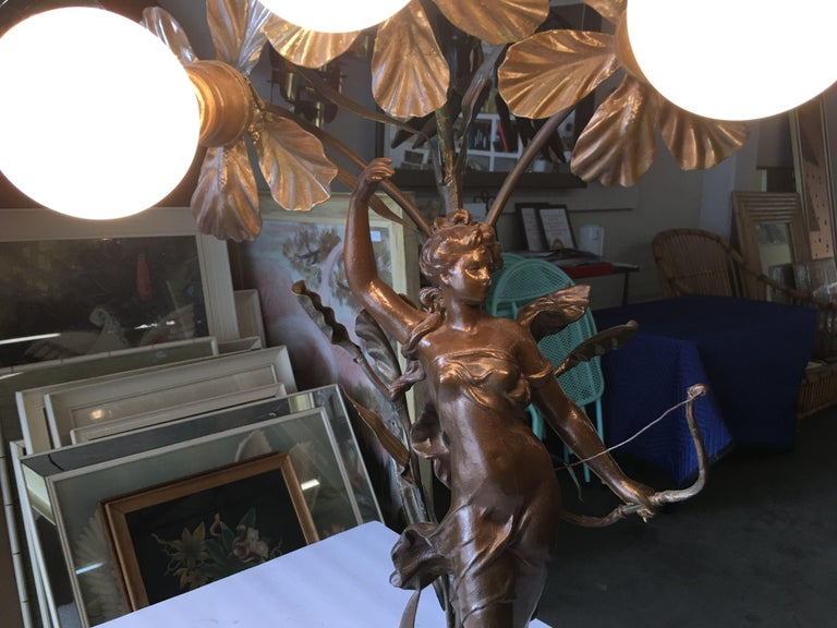 Early Three Bulb Art Nouveau Figural Bronze and Marble Table Lamp For Sale 2