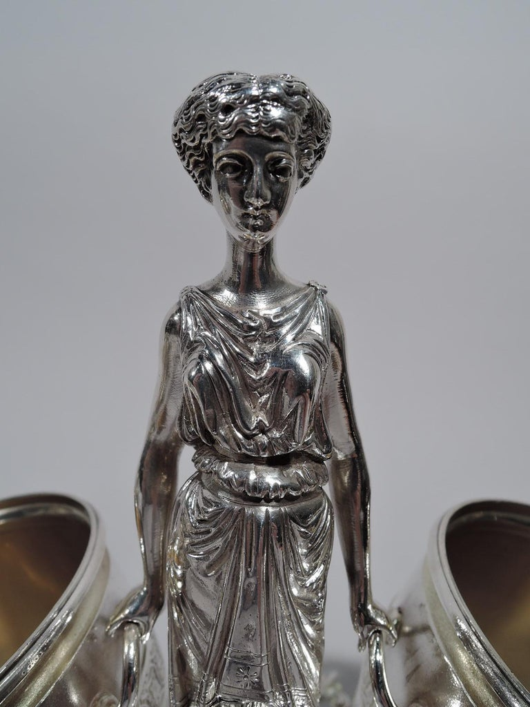 Late 19th Century Early Tiffany American Classical Sterling Silver Figural Cigar Holder For Sale