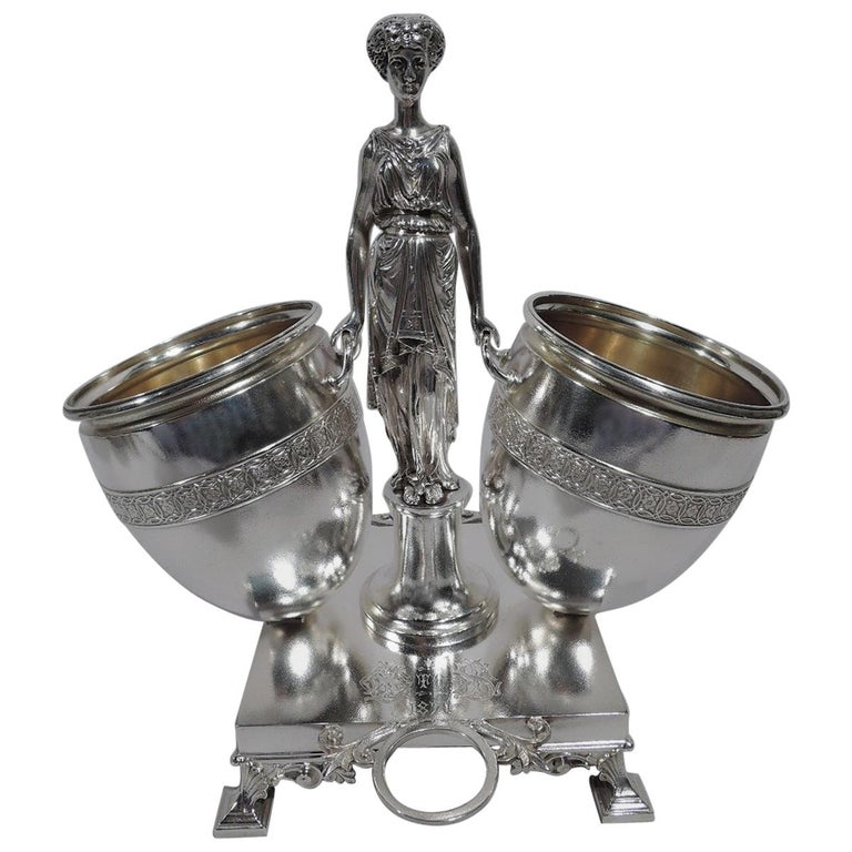 Early Tiffany American Classical Sterling Silver Figural Cigar Holder For Sale