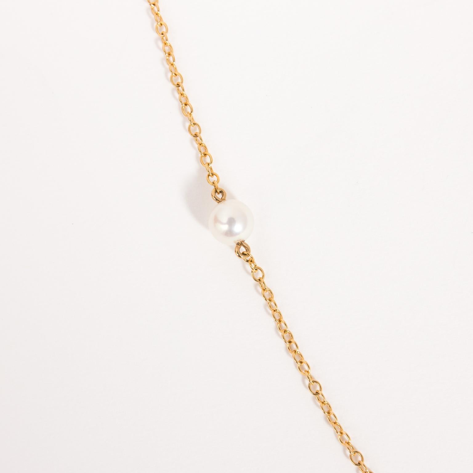 98f57f9fd Early Tiffany and Co. Elsa Peretti 18 Karat Yellow Gold Pearl Necklace For  Sale at 1stdibs