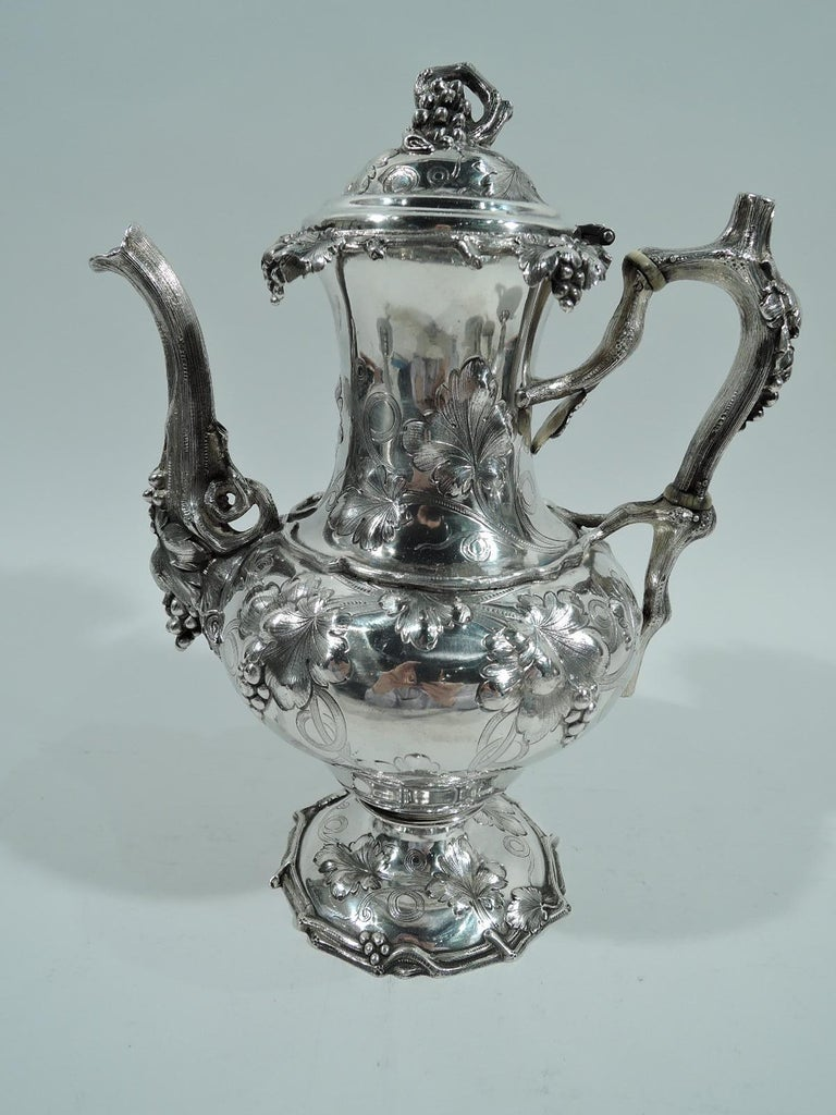 Victorian Early Tiffany Sterling Silver 5-Piece Grapevine Coffee & Tea Set For Sale