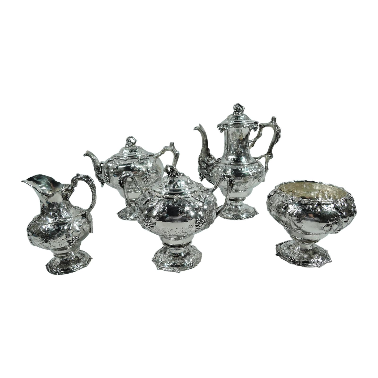 Early Tiffany Sterling Silver 5-Piece Grapevine Coffee & Tea Set