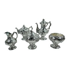 Early Tiffany Sterling Silver 5-Piece Grapevine Coffee & Tea Set