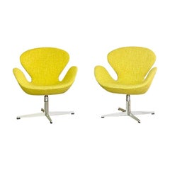 Early Tilt and Swivel Swan Chairs by Arne Jacabsen for Fritz Hansen