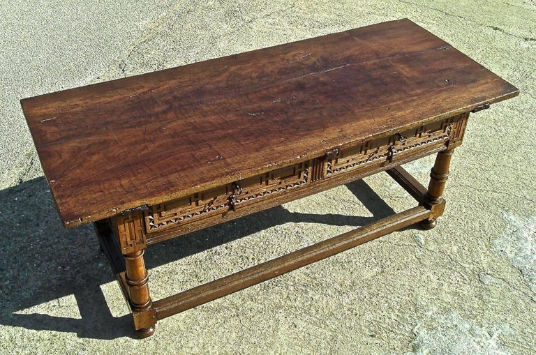 Baroque Early to Mid 17th Century Two-Drawer Spanish Library Table, Walnut and Chestnut For Sale