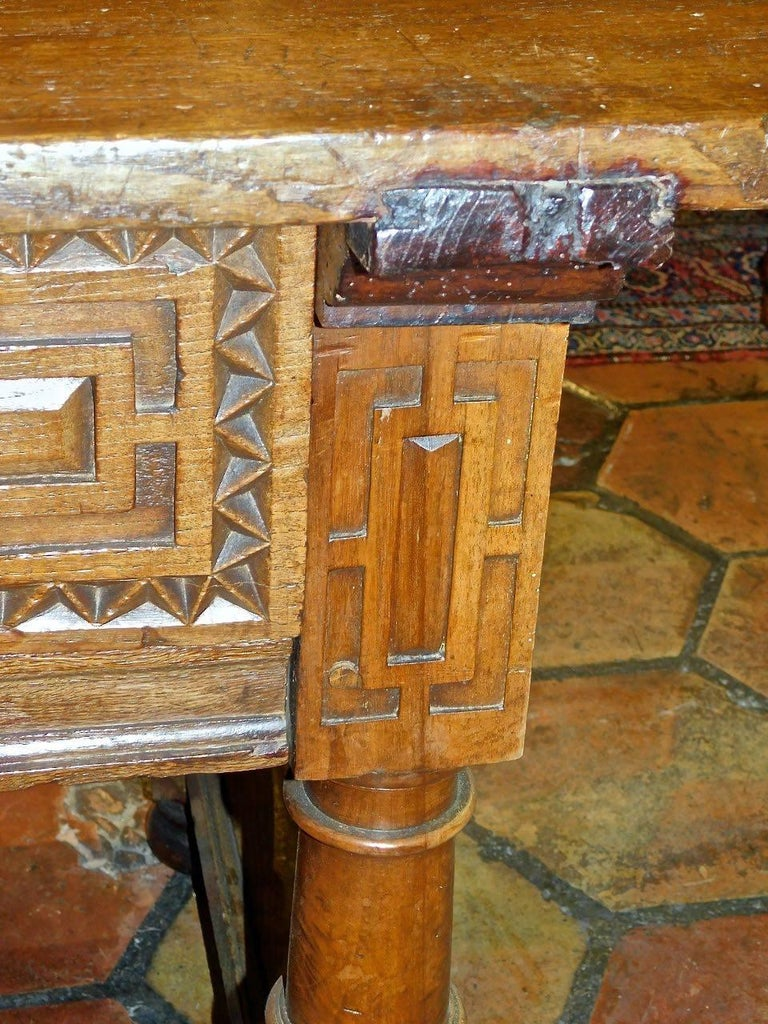 Early to Mid 17th Century Two-Drawer Spanish Library Table, Walnut and Chestnut For Sale 1
