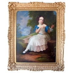Early to Mid-19th Century Oil on Canvas Portrait of Young Girl, circa 1850