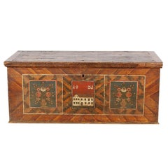 Early to Mid-19th Century Painted Trunk