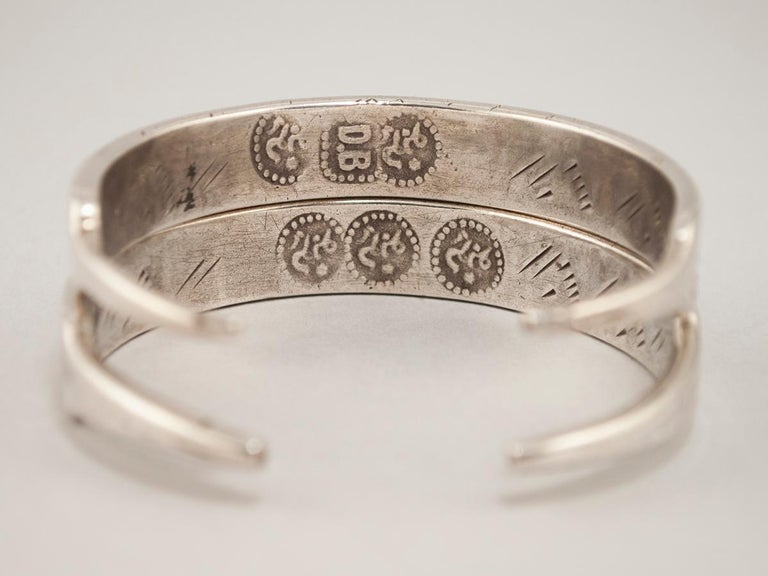 Tribal Early to Mid-20th Century Pair of Silver Bracelets, Tunisia or Libya For Sale