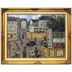 Mid-Century Original Oil On Canvas Painting Paris Street Scene By