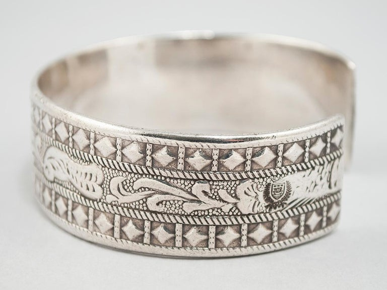 Early to Mid-20th century silver tribal bracelet, Berber people, Libya  Wonderful chased designs of doves, stars, diamonds and leaves. The stamp of Libya can be seen in one of the side photos and there are no hallmarks on the interior. 8