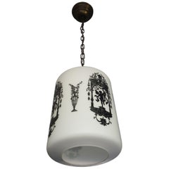 Early to Mid-20th Century Snowy White Glass Pendant with Black Renaissance Decor