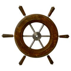 Early to Mid 20th Century Teak and Aluminum Ships Wheel 1930s to 1950s