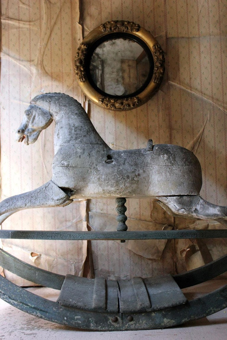 Early to Mid-19th Century Grey Bow Rocking Horse, circa 1830-1840 For Sale 4