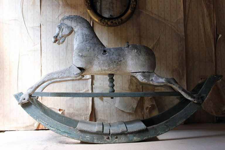 Early to Mid-19th Century Grey Bow Rocking Horse, circa 1830-1840 For Sale 5