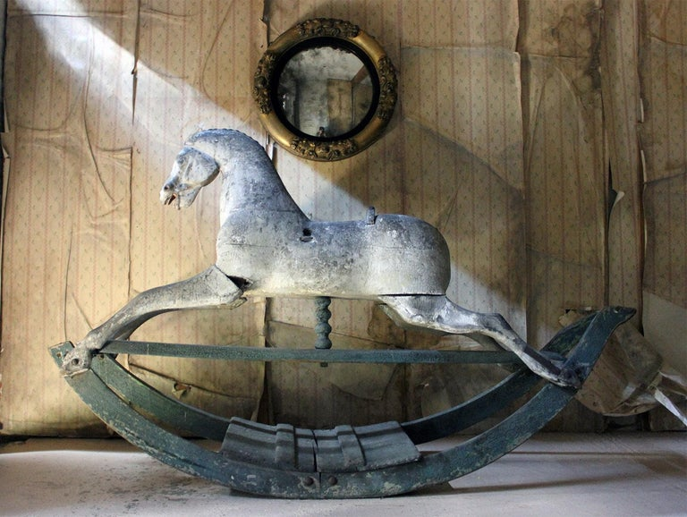 Early to Mid-19th Century Grey Bow Rocking Horse, circa 1830-1840 For Sale 6