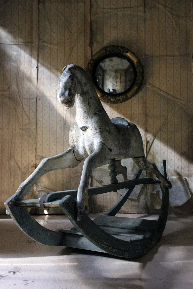 Early to Mid-19th Century Grey Bow Rocking Horse, circa 1830-1840 For Sale 7