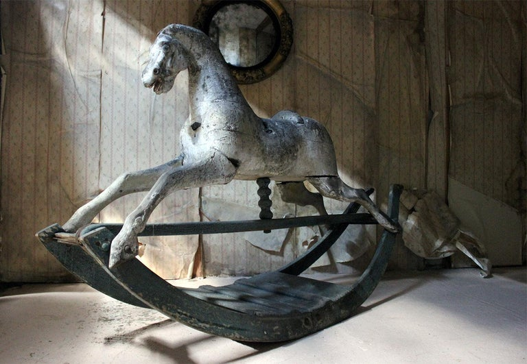 Early to Mid-19th Century Grey Bow Rocking Horse, circa 1830-1840 For Sale 14