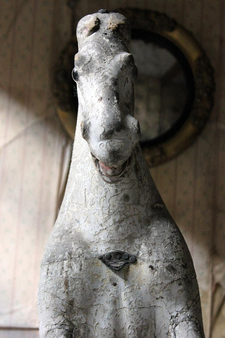 Gesso Early to Mid-19th Century Grey Bow Rocking Horse, circa 1830-1840 For Sale