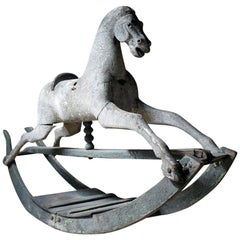 Early to Mid-19th Century Grey Bow Rocking Horse, circa 1830-1840