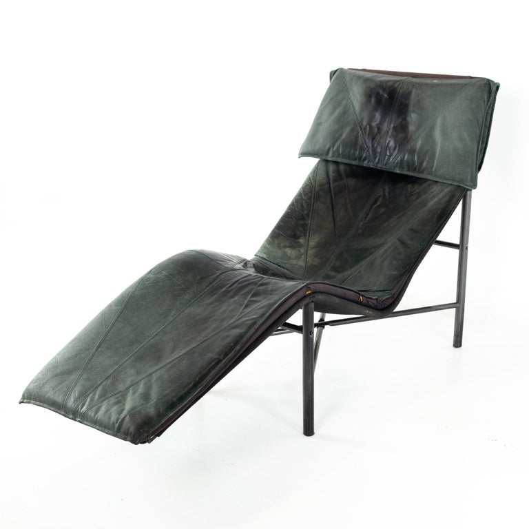 Early Tord Bjorklund for IKEA Mid Century leather chaise lounge chair Chair measures: 26.25 wide x 59.5 deep x 37.5 high, with a chair clearance of 18.5 inches   All pieces of furniture can be had in what we call restored vintage condition. That