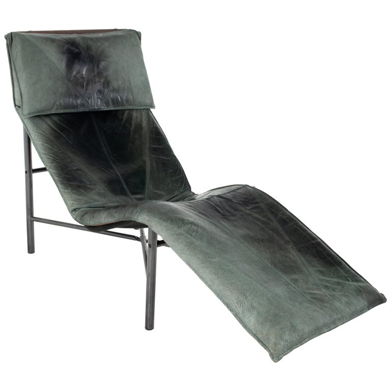 Early Tord Bjorklund for IKEA Mid Century Leather Chaise Lounge Chair For Sale