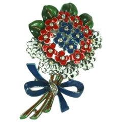 Early Trifari Enamel Bouquet Clip