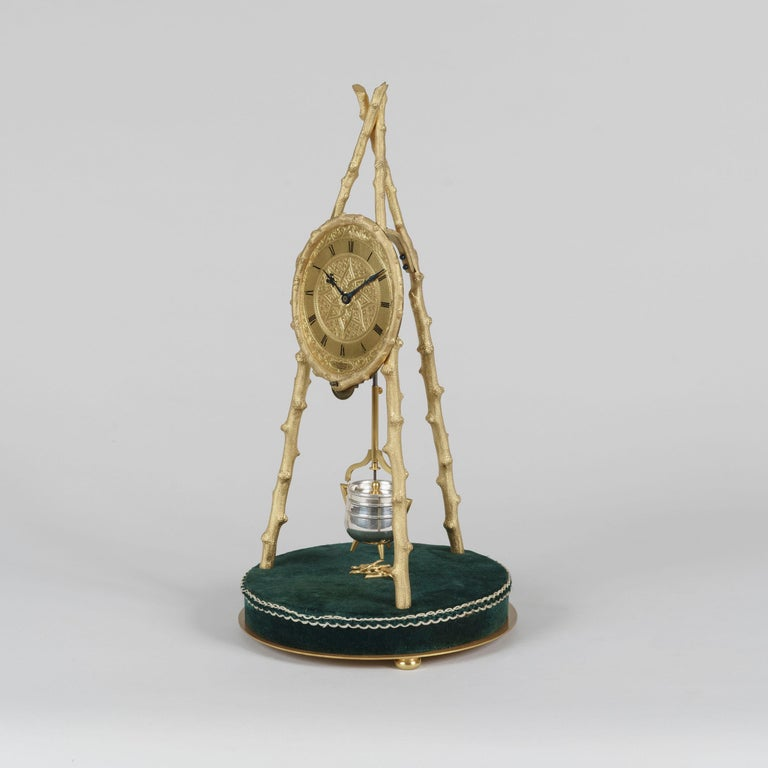 English Early Tripod Table Clock by Thomas Cole with Glass Dome For Sale
