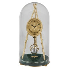 Early Tripod Table Clock by Thomas Cole with Glass Dome