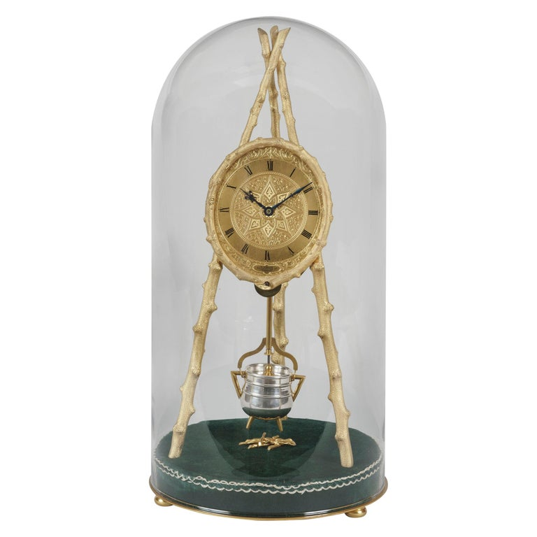 Early Tripod Table Clock by Thomas Cole with Glass Dome For Sale