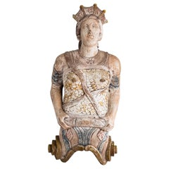 Early 20th Century English Carved Figurehead of Queen Boudica