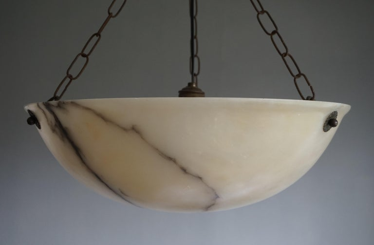 Early 20th Century Large and Amazing Condition Alabaster Pendant Chandelier For Sale 3