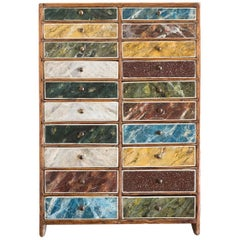 Early 20th Century Marbler and Grainer's Sampler Cabinet