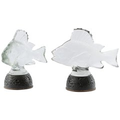 Early 20th Century Pair of Lalique Fishes Mounted as Table Lamps