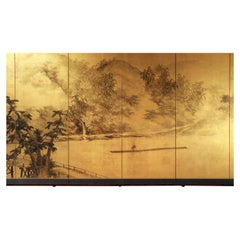 Early 20th Century Asian Japanese Folding Screen Landscape, Sansui Gold Leaf