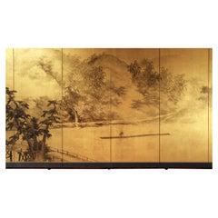 20th Century Asian Japanese Folding Screen Landscape, Sansui Gold Leaf
