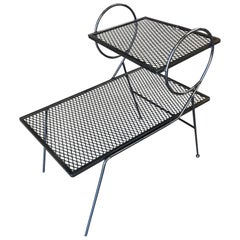 Early Two-Tier Art Deco Mesh Steel Outdoor/Patio Side Table by Woodard