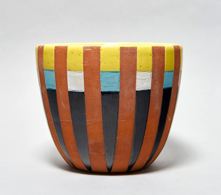 Made in the late 1950s at Bitossi in Montelupo, Italy. Bears strong affinity with the early ceramic work (also made at Bitossi) by the enigmatic and extremely influential guru of avant-garde Italian design. Signed with glazed manufacturer's mark to