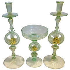 Early Venetian Murano Console Set Pair Candles and Centerpiece