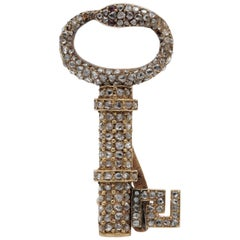 Early Victorian 1.0 Ct Rose Cut Diamond 18 Kt Secret Key to My Heart Brooch Pend
