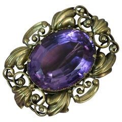 Early Victorian 15 Carat Gold and Amethyst Statement Brooch