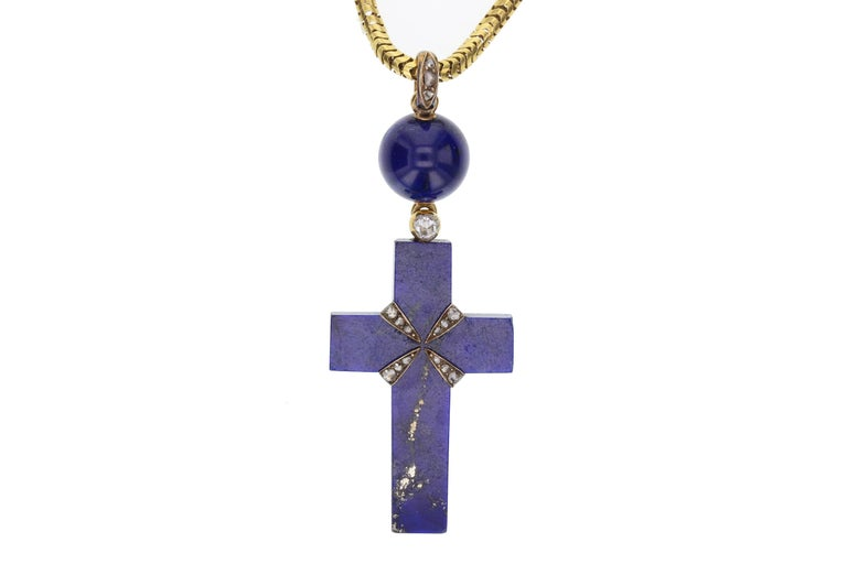 Early Victorian 18 Carat Gold Lapiz Lazuli Diamond Cross and Chain In Good Condition For Sale In Newcastle Upon Tyne, GB