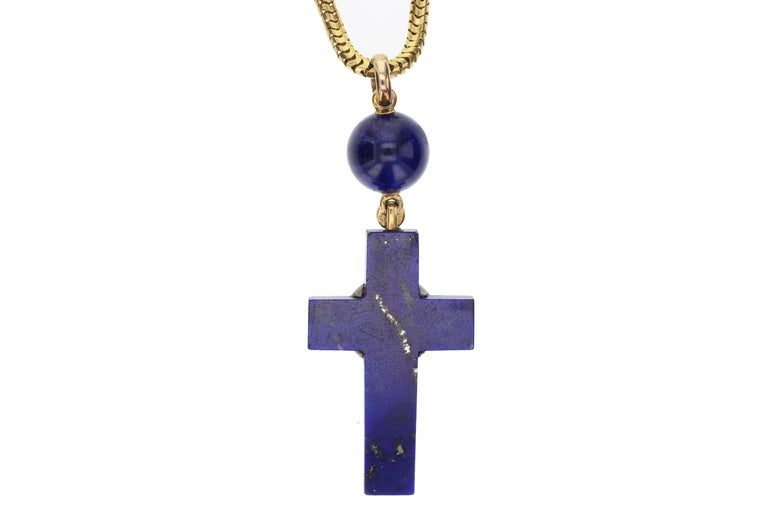 Women's or Men's Early Victorian 18 Carat Gold Lapiz Lazuli Diamond Cross and Chain For Sale